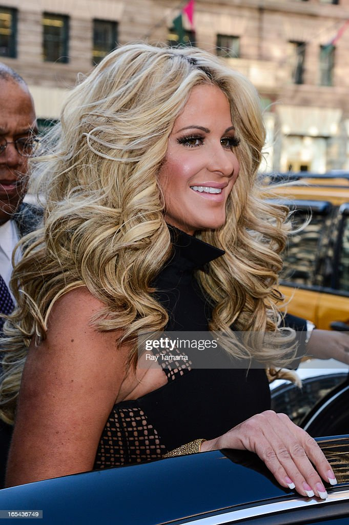 TV personality Kim Zolciak leaves her Soho hotel on April 3, 2013 in New York City.
