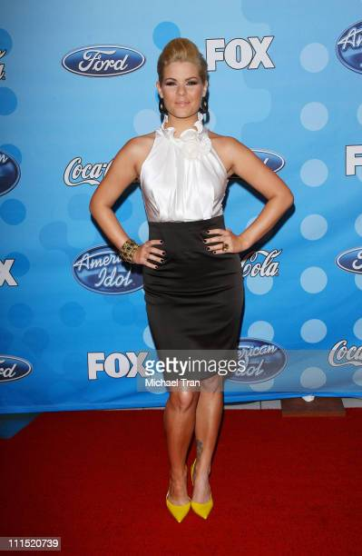 TV Personality Kimberly Caldwell arrives at Fox's 'American Idol' meet the top 12 contestants party held at the Pacific Design Center on March 6 2008...