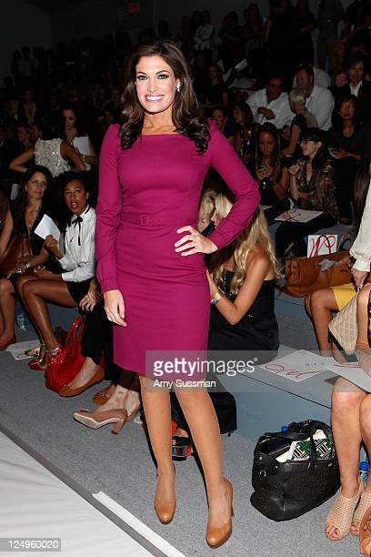 TV personality Kimberly Guilfoyle poses with FIJI Water at the Milly Spring 2012 show during MercedesBenz Fashion Week on September 14 2011 in New...
