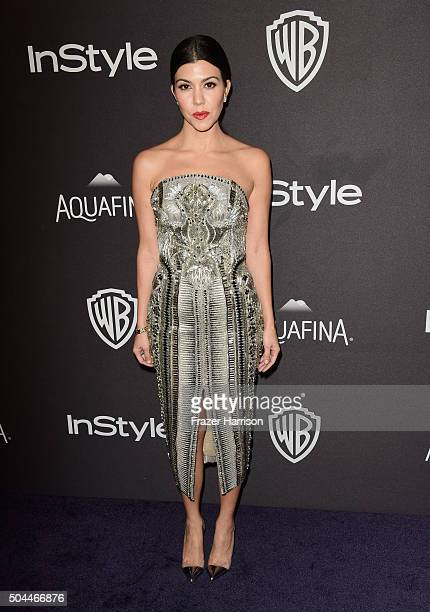 TV personality Kourtney Kardashian attends InStyle and Warner Bros 73rd Annual Golden Globe Awards PostParty at The Beverly Hilton Hotel on January...