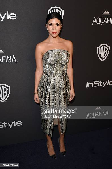 TV personality Kourtney Kardashian attends The 2016 InStyle And Warner Bros 73rd Annual Golden Globe Awards PostParty at The Beverly Hilton Hotel on...