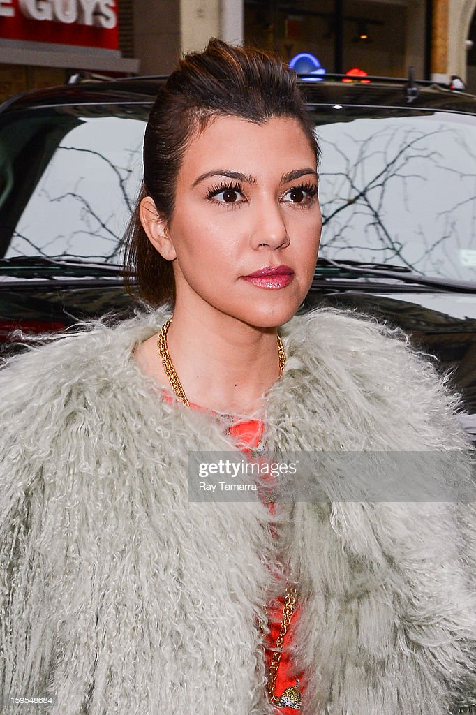 TV personality <a gi-track='captionPersonalityLinkClicked' href=/galleries/search?phrase=Kourtney+Kardashian&family=editorial&specificpeople=3955024 ng-click='$event.stopPropagation()'>Kourtney Kardashian</a> enters the 'Today Show' taping at the NBC Rockefeller Center Studios on January 15, 2013 in New York City.