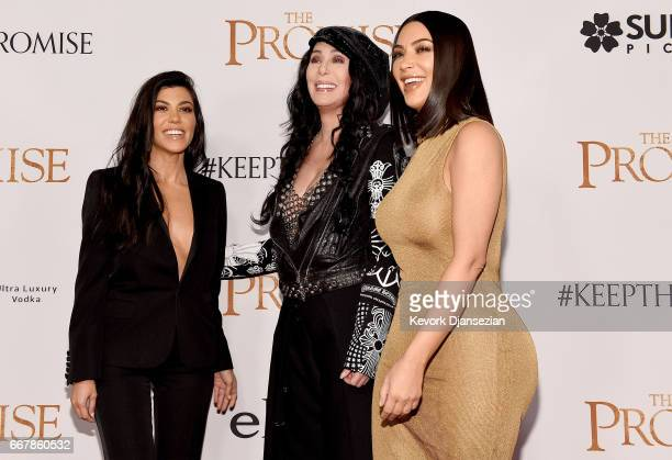 TV personality Kourtney Kardashian singer/actor Cher and TV personality Kim Kardashian West attend the premiere of Open Road Films' 'The Promise' at...