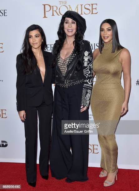 TV personality Kourtney Kardashian singer/actress Cher and TV personality Kim Kardashian arrive at the Premiere of Open Road Films' 'The Promise' at...