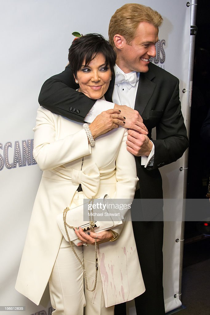 TV personality <a gi-track='captionPersonalityLinkClicked' href=/galleries/search?phrase=Kris+Jenner&family=editorial&specificpeople=762610 ng-click='$event.stopPropagation()'>Kris Jenner</a> (L) and actor Edward Watts attend the 'Scandalous' Broadway Opening Night after party at Copacabana on November 15, 2012 in New York City.