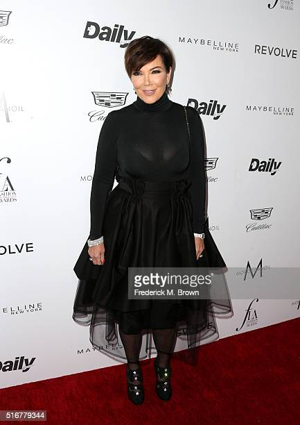 Personality Kris Jenner attends the Daily Front Row 'Fashion Los Angeles Awards' at Sunset Tower Hotel on March 20 2016 in West Hollywood California