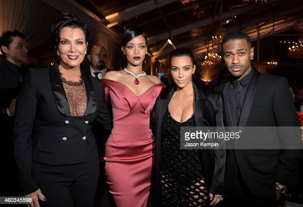 TV personality Kris Jenner recording artist Rihanna tv personality Kim Kardashian and recording artist Big Sean attend The Inaugural Diamond Ball...
