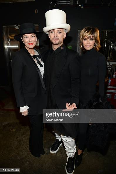 TV personality Kris Jenner singer Boy George of Culture Club and actress Lisa Rinna pose backstage during the first ever iHeart80s Party at The Forum...
