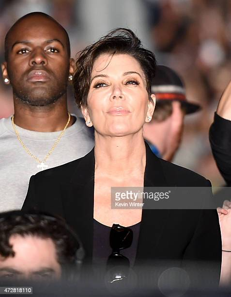 TV personality Kris Jenner watches rapper Kanye West perform onstage during 1027 KIIS FM's 2015 Wango Tango at StubHub Center on May 9 2015 in Los...