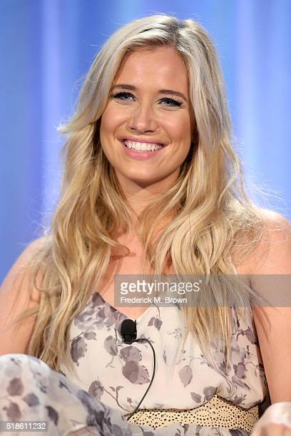 TV personality Kristine Leahy speaks onstage during the 'American Ninja Warrior' panel at the 2016 NBCUniversal Summer Press Day at Four Seasons...