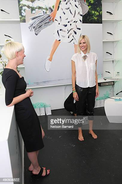 TV personality Krtisten Taekman and Kegan Schouwenburg SOLS Founder/CEO attend the SOLS launch party for the new SOLS Flex on October 1 2015 in New...