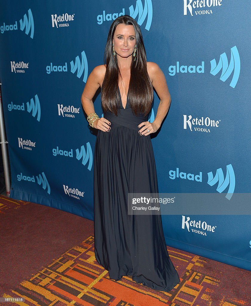 TV personality Kyle Richards poses in the VIP Red Carpet Suite at the 24th Annual GLAAD Media Awards hosted by Ketel One at JW Marriott Los Angeles at L.A. LIVE on April 20, 2013 in Los Angeles, California.