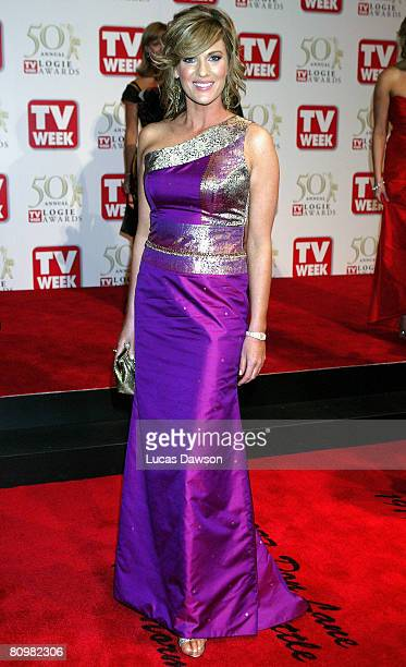 TV personality Kylie Gillies arrives on the red carpet at the 50th Annual TV Week Logie Awards at the Crown Towers Hotel and Casino on May 4 2008 in...