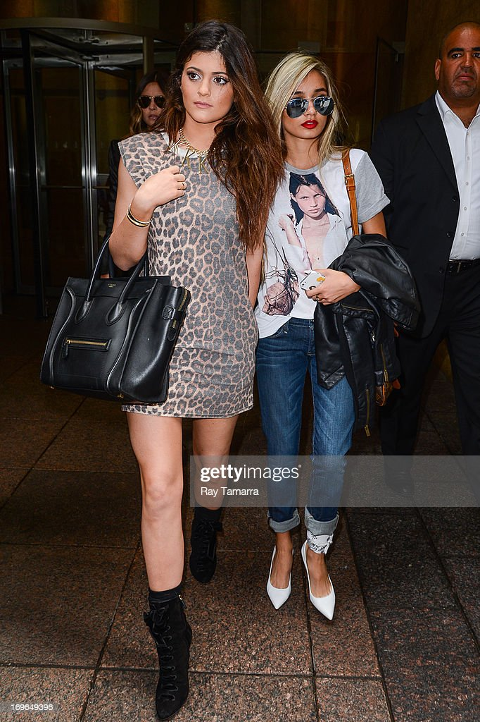 TV personality Kylie Jenner (L) and guest leave the Sirius XM Studios on May 29, 2013 in New York City.