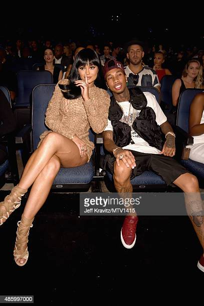 TV personality Kylie Jenner and rapper Tyga during the 2015 MTV Video Music Awards at Microsoft Theater on August 30 2015 in Los Angeles California