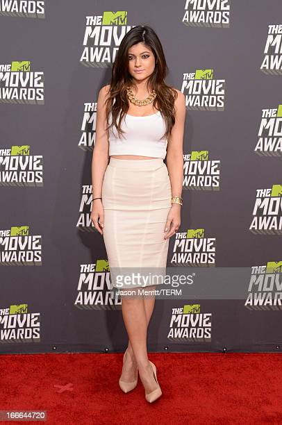 TV personality Kylie Jenner arrives at the 2013 MTV Movie Awards at Sony Pictures Studios on April 14 2013 in Culver City California