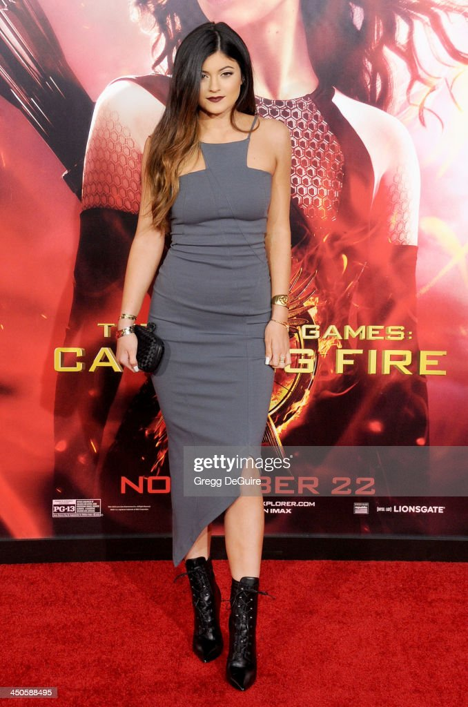 TV personality Kylie Jenner arrives at the Los Angeles premiere of 'The Hunger Games: Catching Fire' at Nokia Theatre L.A. Live on November 18, 2013 in Los Angeles, California.