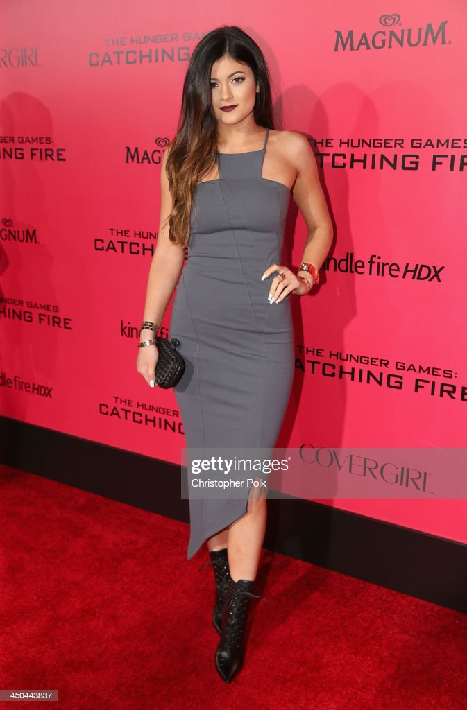 TV personality <a gi-track='captionPersonalityLinkClicked' href=/galleries/search?phrase=Kylie+Jenner&family=editorial&specificpeople=870409 ng-click='$event.stopPropagation()'>Kylie Jenner</a> attends premiere of Lionsgate's 'The Hunger Games: Catching Fire' - Red Carpet at Nokia Theatre L.A. Live on November 18, 2013 in Los Angeles, California.