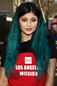 TV personality Kylie Jenner attends the Los Angeles Mission and Anne Douglas Center's thanksgiving meal for the homeless held at the Los Angeles...