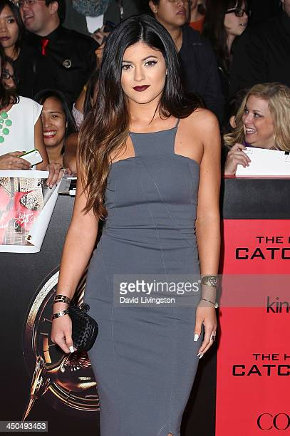 TV personality Kylie Jenner attends the premiere of Lionsgate's 'The Hunger Games Catching Fire' at Nokia Theatre LA Live on November 18 2013 in Los...