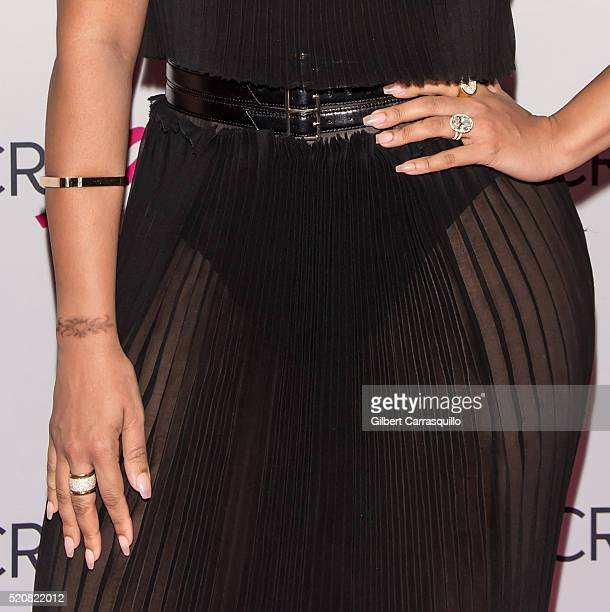 TV personality La La Anthony jewelry detail attends the 2016 Breast Cancer Research Foundation Hot Pink Party at The Waldorf=Astoria on April 12 2016...