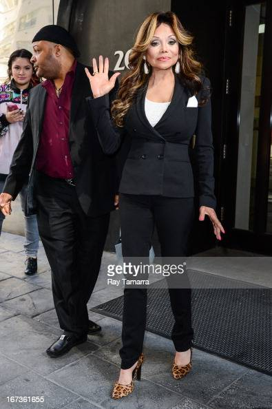 TV personality La Toya Jackson leaves the 'Good Day New York' taping at the Fox 5 Studios on April 24 2013 in New York City