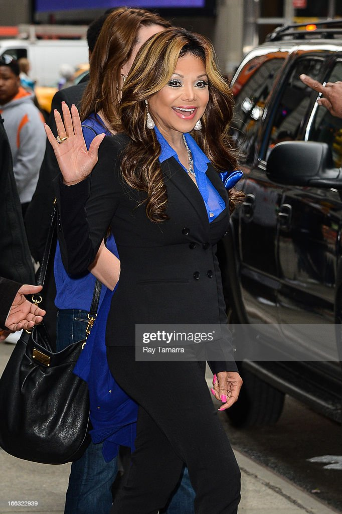 TV personality La Toya Jackson leaves the 'Good Morning America' taping at the ABC Times Square Studio on April 11, 2013 in New York City.