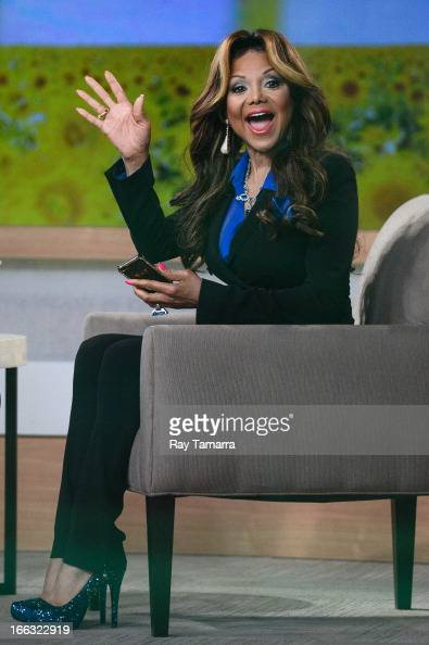 TV personality La Toya Jackson tapes an interview at 'Good Morning America' at the ABC Times Square Studio on April 11 2013 in New York City