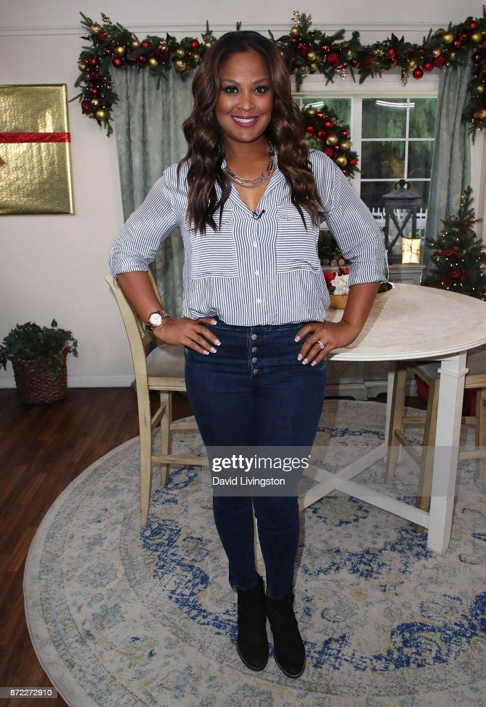 TV personality Laila Ali poses at Hallmark's 'Home & Family' at Universal Studios Hollywood on November 9, 2017 in Universal City, California.