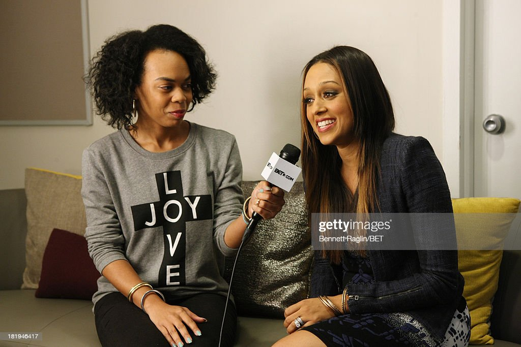 TV personality LaLa Vasquez (R) visits 106 & Park at 106 & Park on September 23, 2013 in New York City.