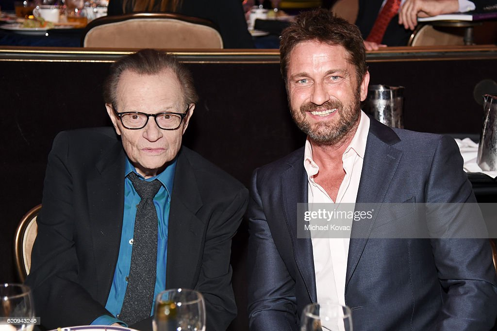 TV personality Larry King (L) and actor Gerard Butler attend Friends Of The Israel Defense Forces Western Region Gala at The Beverly Hilton Hotel on November 3, 2016 in Beverly Hills, California.