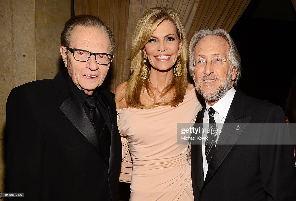 TV personality Larry King, wife Shawn King and NARAS President Neil Portnow arrive at the 55th Annual GRAMMY Awards Pre-GRAMMY Gala and Salute to Industry Icons honoring L.A. Reid held at The Beverly Hilton on February 9, 2013 in Los Angeles, California.