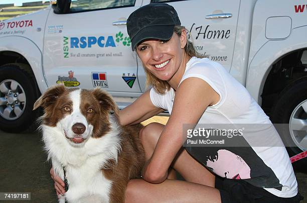 TV personality Laura Csortan and her dog Abby take part in the RSPCA Million Paws Walk at Sydney Olympic Park on May 20 2007 in Sydney Australia The...