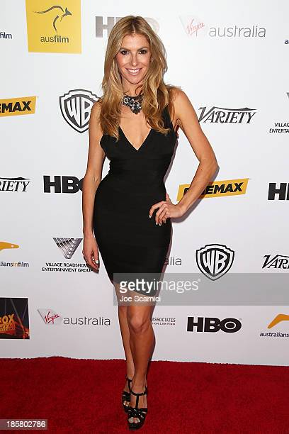 Personality Laura Csortan arrives at the Australians in film benefit dinner at InterContinental Hotel on October 24 2013 in Century City California