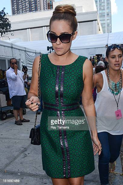 TV personality Lauren Conrad leaves the MercedesBenz Fashion Week at The Theatre at Lincoln Center on September 9 2012 in New York City