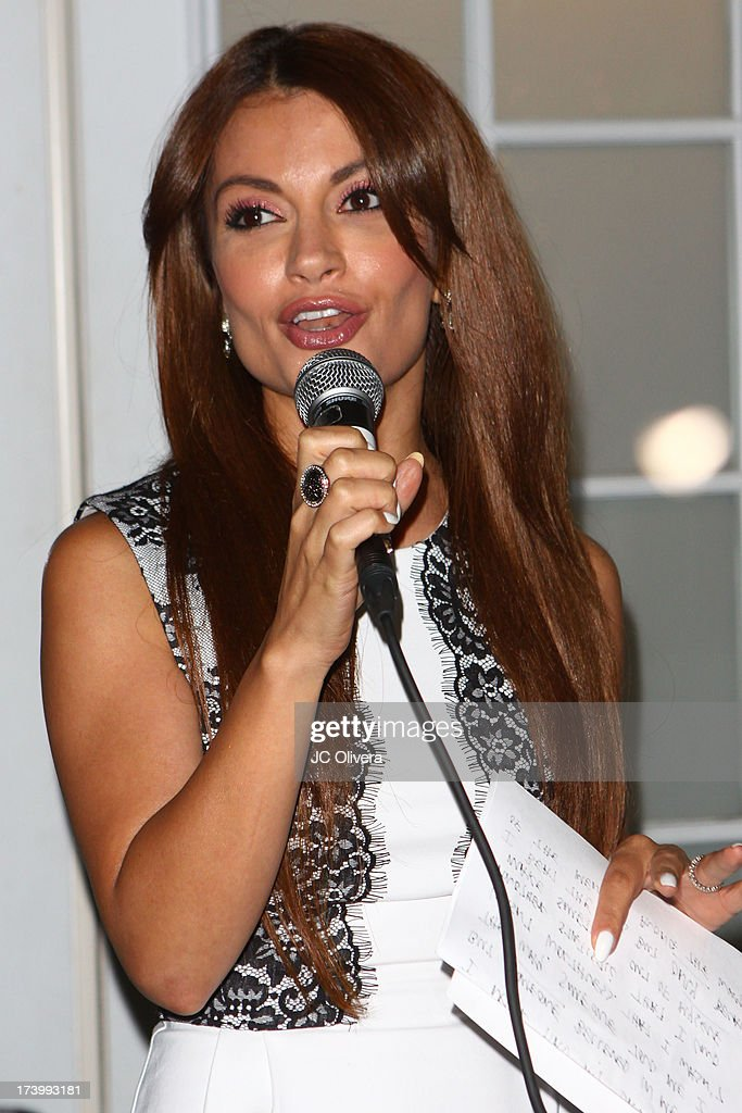 TV personality Layla Kayleigh speaks during The Farley Project's Summer Garden Fundraiser at Kravetz PR Offices & Courtyard on July 18, 2013 in West Hollywood, California.