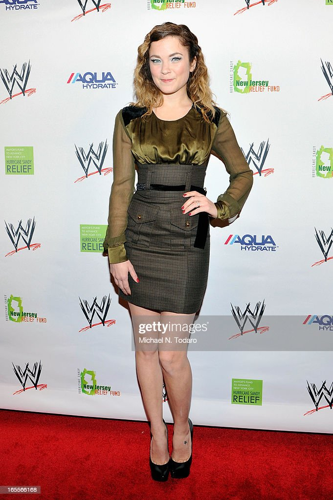 TV personality Lenay Dunn attends WWE Superstars for Sandy Relief at Cipriani, Wall Street on April 4, 2013 in New York City.