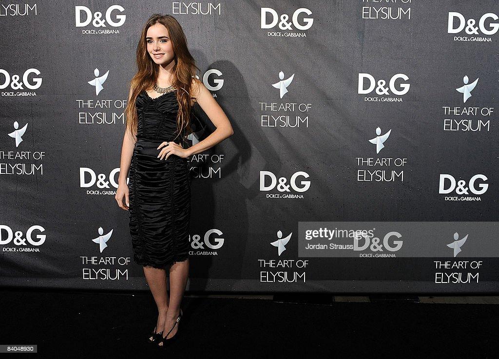 TV personality Lily Collins attends the DG flagship boutique opening on Robertson Blvd benefiting The Art of Elysium on December 15 2008 in Beverly...