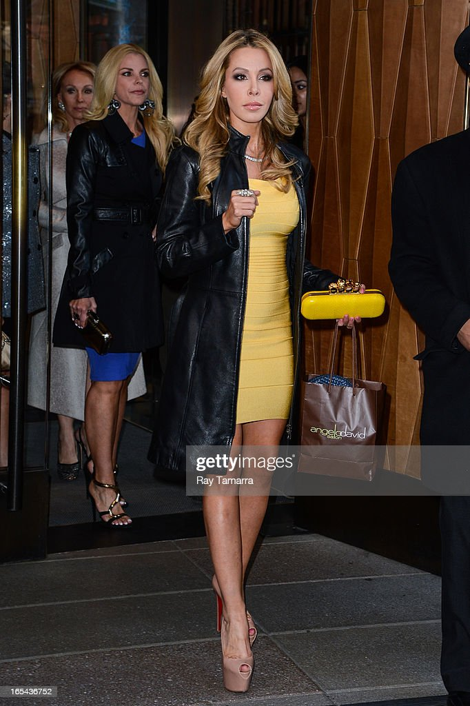 TV personality Lisa Hochstein leaves her Soho hotel on April 3, 2013 in New York City.