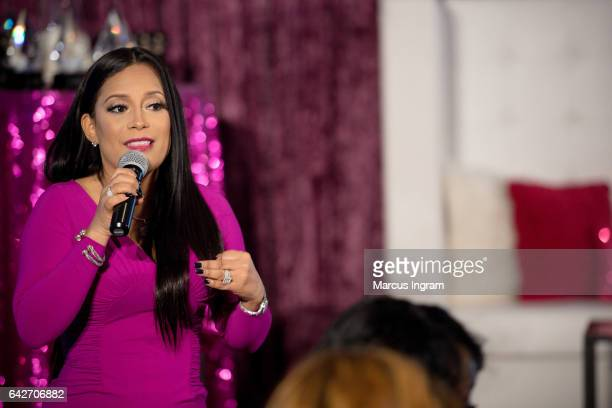 TV personality Lisa Nicole Cloud speaks on stage during the 2017 WEN VIP day and power brunch at The Westin Peachtree Plaza Hotel on February 18 2017...
