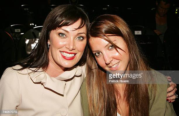 TV personality Lisa Oldfield and her daughter attend the catwalk by designer Madame Marie on day four of Rosemount Australian Fashion Week...