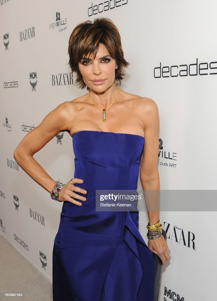 TV personality <a gi-track='captionPersonalityLinkClicked' href=/galleries/search?phrase=Lisa+Rinna&family=editorial&specificpeople=202100 ng-click='$event.stopPropagation()'>Lisa Rinna</a> attends the Harper's BAZAAR celebration of the launch of Bravo TV's 'The Dukes of Melrose' starring Cameron Silver and Christos Garkinos at Sunset Tower on February 28, 2013 in West Hollywood, California.