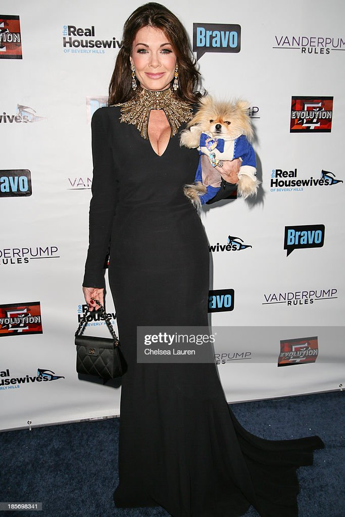 TV personality Lisa Vanderpump and her dog Giggy arrive at 'The Real Housewives Of Beverly Hills' and 'Vanderpump Rules' premiere party at Boulevard3...