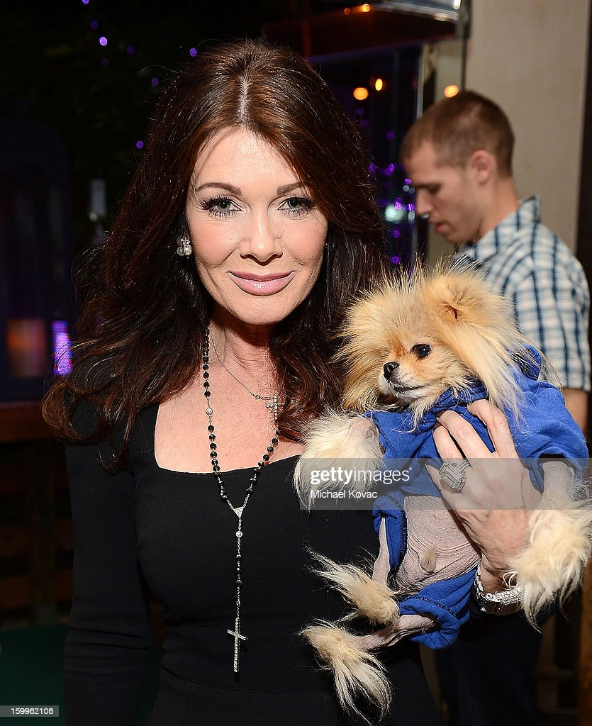 TV personality Lisa Vanderpump and her dog Jiggy attend Celebrities and the EMA Help Green Works Launch New Campaign at Sur Restaurant on January 23, 2013 in Los Angeles, California.
