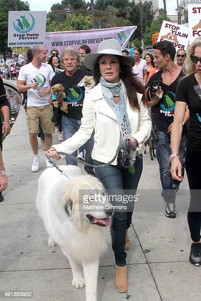 TV personality Lisa Vanderpump attends the StopYulinForever march to end dog cruelty in Yulin China at MaCarthur Park Recreation Center on October 4...