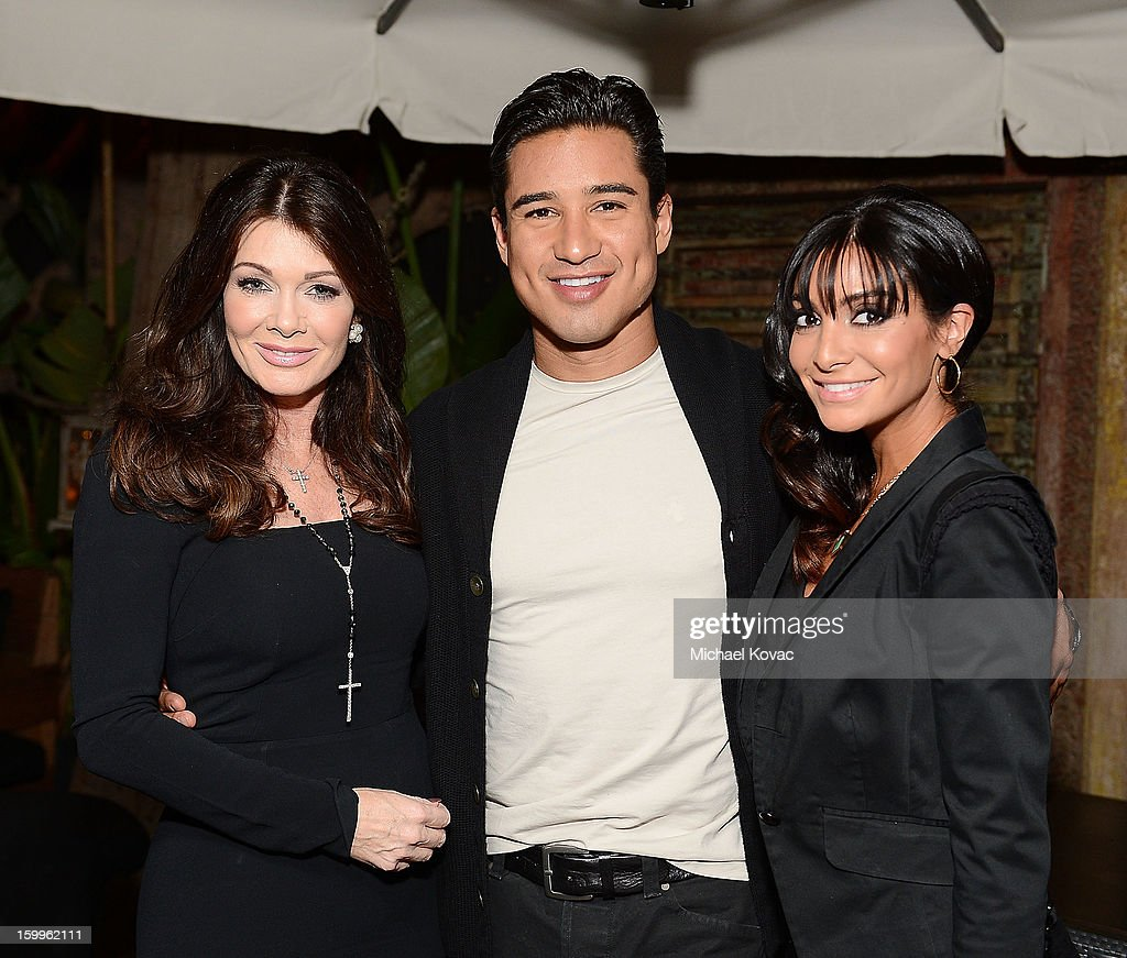 TV personality Lisa Vanderpump, TV host Mario Lopez, and Courtney Mazza attend Celebrities and the EMA Help Green Works Launch New Campaign at Sur Restaurant on January 23, 2013 in Los Angeles, California.