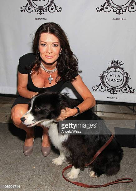 TV personality Lisa Vanderpump with Dr Frank Ryan's border collie Jill and Villa Blanca Restaurant host memorial for the late Dr Frank Ryan at Villa...