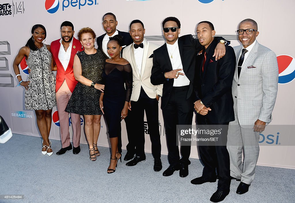 TV personality Lola Ogunnaike, actor <a gi-track='captionPersonalityLinkClicked' href=/galleries/search?phrase=Hosea+Chanchez&family=editorial&specificpeople=879950 ng-click='$event.stopPropagation()'>Hosea Chanchez</a>, BET Networks Chairman & CEO <a gi-track='captionPersonalityLinkClicked' href=/galleries/search?phrase=Debra+L.+Lee&family=editorial&specificpeople=555541 ng-click='$event.stopPropagation()'>Debra L. Lee</a>, actors Jay Ellis, <a gi-track='captionPersonalityLinkClicked' href=/galleries/search?phrase=Naturi+Naughton&family=editorial&specificpeople=2559512 ng-click='$event.stopPropagation()'>Naturi Naughton</a>, <a gi-track='captionPersonalityLinkClicked' href=/galleries/search?phrase=Terrence+J&family=editorial&specificpeople=4419581 ng-click='$event.stopPropagation()'>Terrence J</a>enkins, <a gi-track='captionPersonalityLinkClicked' href=/galleries/search?phrase=Tristan+Wilds&family=editorial&specificpeople=3025356 ng-click='$event.stopPropagation()'>Tristan Wilds</a>, and Chris '<a gi-track='captionPersonalityLinkClicked' href=/galleries/search?phrase=Ludacris&family=editorial&specificpeople=203034 ng-click='$event.stopPropagation()'>Ludacris</a>' Bridges, and guest attend the BET AWARDS '14 Debra Lee's Pre-Dinner held at Milk Studios on June 28, 2014 in Los Angeles, California.