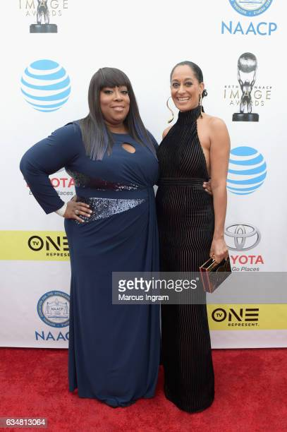 TV personality Loni Love and actress Tracee Ellis Ross attend the 48th NAACP Image Awards at Pasadena Civic Auditorium on February 11 2017 in...