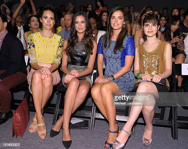 TV personality Louise Roe actress Odette Annable Katie Lee and actress Sami Gayle attend the Tracy Reese Spring 2013 fashion show during MercedesBenz...